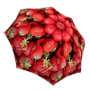 Compact Automatic Rain Umbrella Strawberries Design - Vintage Red Umbrella Lightweight for Travel