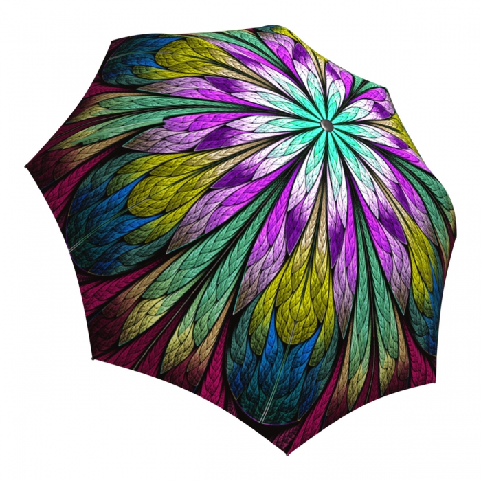 Abstract Art Umbrella for Women - Compact Automatic Fancy Umbrella Dragonfly Design