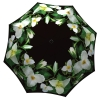 Floral Umbrella Trillium Design - Folding Black White Flower Umbrella with Sleeve - best umbrella on the market