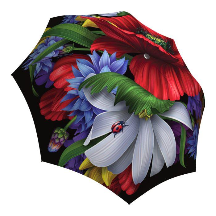 Art Poppy Umbrella for Women - Brand Umbrella Windproof Auto Open Close - Fashion Red Umbrella Unique Gift