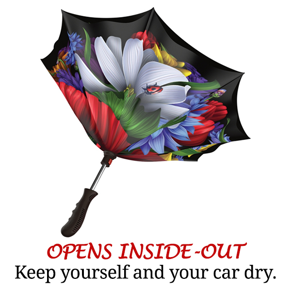 Opens inside out reverse rain umbrella