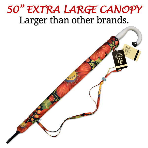 Folk art large two-person golf rain umbrella with hook handle