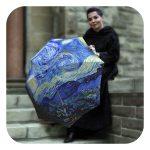 Van Gogh Starry-Night-Umbrella - Blue art umbrella for rain by La Bella Umbrella