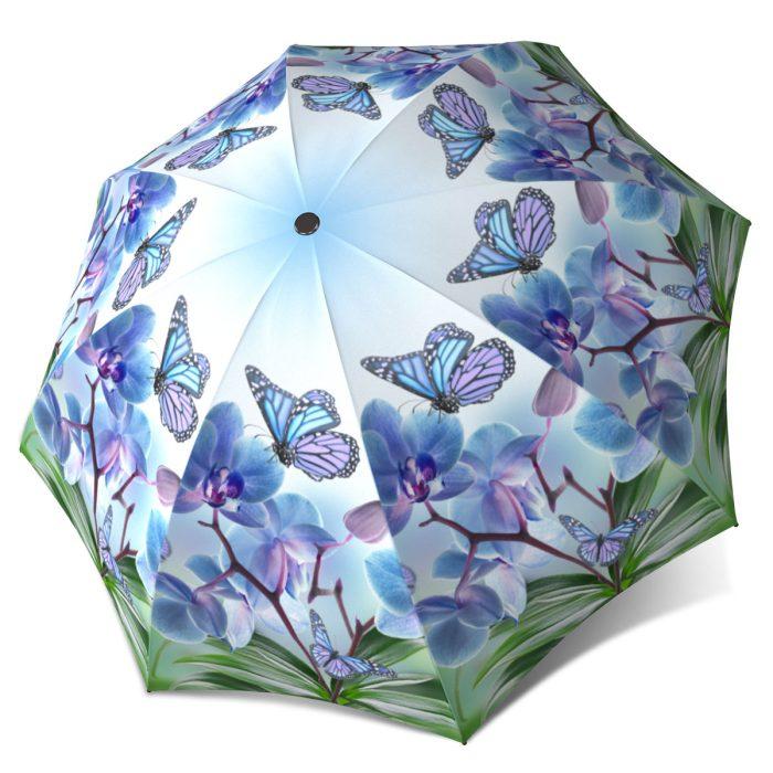 Blue Butterfly Umbrella - Fashion Umbrella Stylish Gift - Compact Automatic Rain Umbrella
