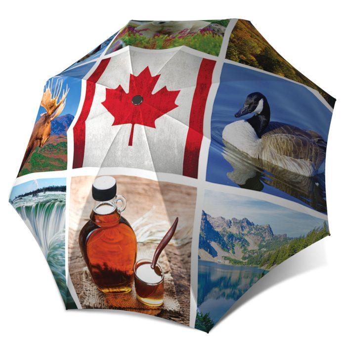Canadian Gift Designer Umbrella for Women and Men - Canadian Collage Flag Umbrella Windproof Automatic Open Close