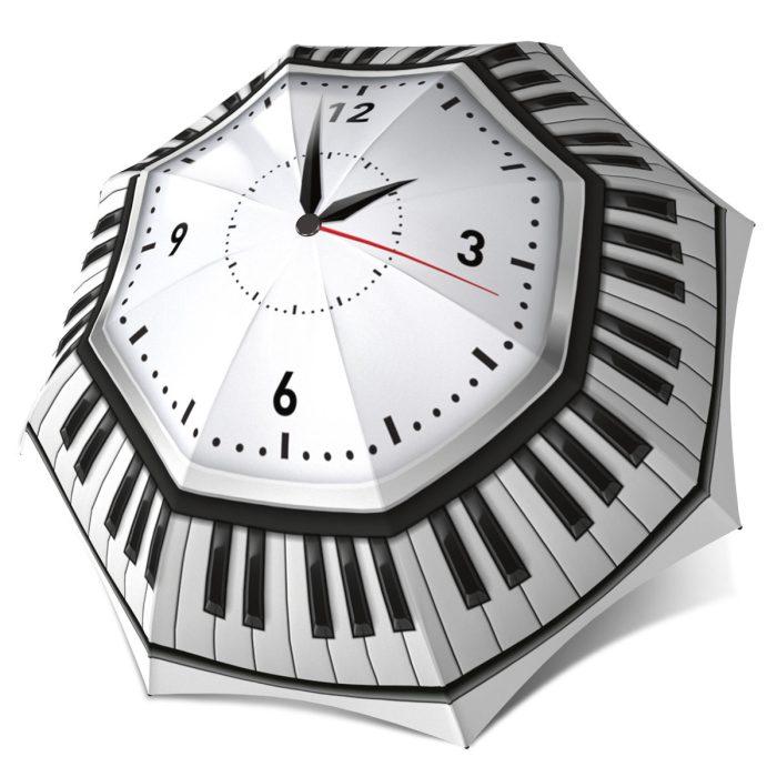 Windproof Auto Open Close Automatic - Music notes Umbrella Stylish Black and White Designer Umbrella for Women and Men