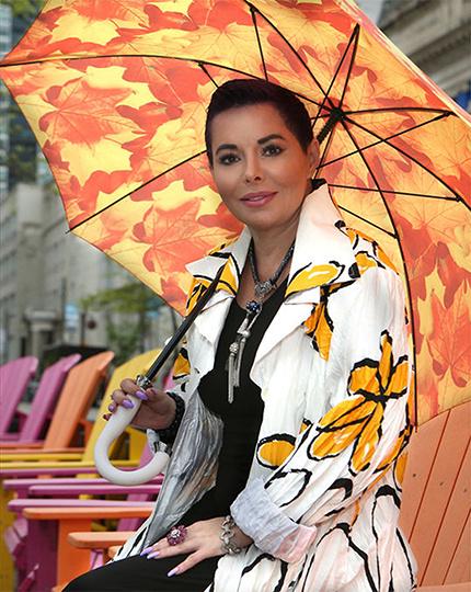 Portable compact designer umbrellas with auto open close push button - La Bella Umbrella