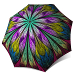 Abstract Art Umbrella for Women - Compact Automatic Fancy Umbrella Dragonfly Design