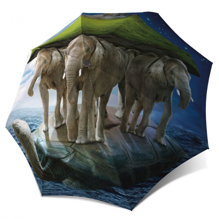 Small Folding Umbrella with Turtle - Elephants Fashion Umbrella Lightweight Rain Sun