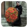 Folk Art Umbrella - Floral compact fashion rain umbrella for women by La Bella Umbrella