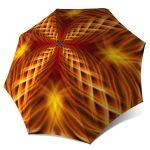 Folding Durable Strong Umbrella with Sleeve - Abstract Art Orange Umbrella