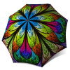 Compact Automatic Rain Umbrella - Floral Stained Glass Design Umbrella for Women