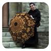 Gold Floral Ornament rain sun Umbrella - Designer brand umbrella for women by La Bella Umbrella
