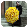 Floral rain umbrella windproof Yellow Flower design by La Bella Umbrella
