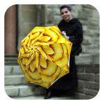 Floral rain umbrella windproof Yellow Flower design by La Bella Umbrella