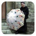 Floral auto open close umbrella for wedding - Flower White Roses Umbrella by La Bella Umbrella