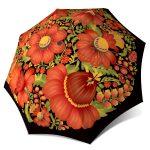 Compact Automatic Rain Umbrella - Folk Art Floral Umbrella for Women