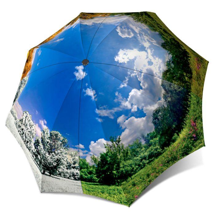 Women Umbrella blue sky - Four Seasons Design Compact Automatic Umbrella