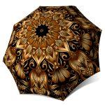 Rain Umbrella compact windproof - Gold Floral Umbrella Art for Women