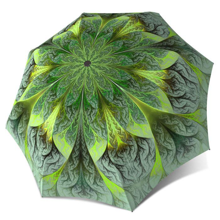 Compact Automatic Rain Umbrella - Green Flower Design Fashion Umbrella Floral Stylish Gift