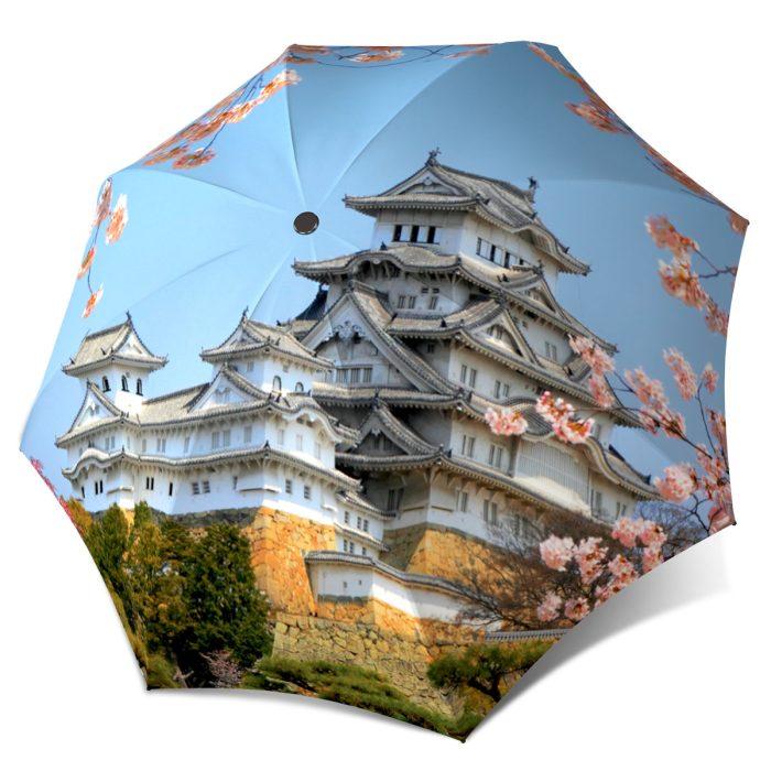 Japanese Art Umbrella for Women - Compact Automatic Rain Umbrella Japan Cherry Blossoms Design - Folding Colorful Umbrella with Sleeve