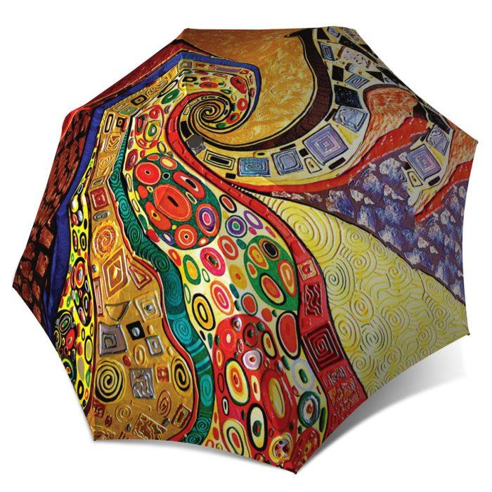 Klimt Art Abstract Umbrella - Folding Colourful Umbrella with Sleeve