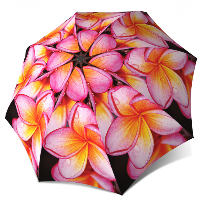 Floral Umbrella - Magnolias Design Pink Flower Umbrella Windproof Compact for Travel