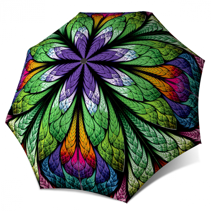 Unique Gift Art Purple Umbrella Peacock Design Lightweight Portable Rain Umbrella Stained Glass