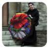 Wild-Poppies-Red and white fashion umbrella - Floral umbrella for rain by La Bella Umbrella