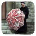 snow flakes umbrella red white compact portable by La Bella Umbrella