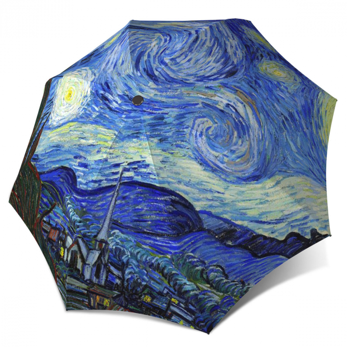 Starry Night Compact Automatic Unique Umbrella - Vintage Van Gogh Umbrella Travel