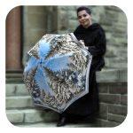 Original portable umbrella - Stylish white and blue Winter Umbrella by La Bella Umbrella