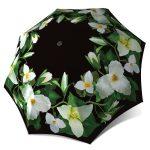 Trillium Flower Vintage Fashion Compact Automatic Rain Umbrella