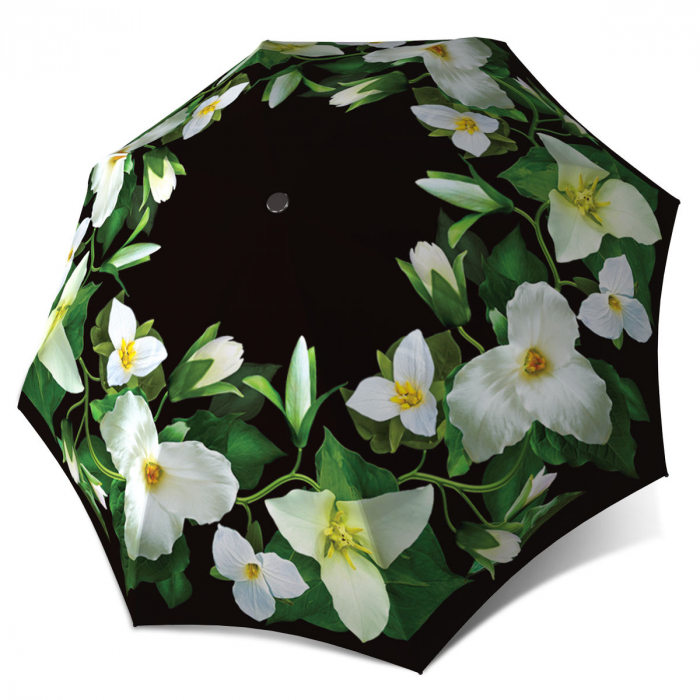 Trillium Flower Vintage Fashion Compact Automatic Rain Umbrella
