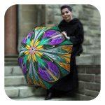 Kaleidoscope-Stained-Glass-Umbrella - Fashion umbrella for women with colourful design by La Bella Umbrella