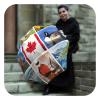 Red Canadian themed travel umbrella - Canadian-Collage-rain Umbrella by La Bella Umbrella