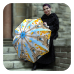 Paris-Umbrella - French Vintage travel automatic open close rain umbrella for ladies by La Bella Umbrella