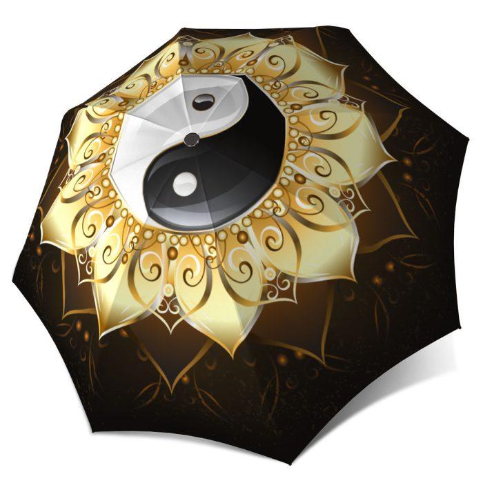 Yin Yang Fashion Folding Durable Strong Umbrella Gold Black White